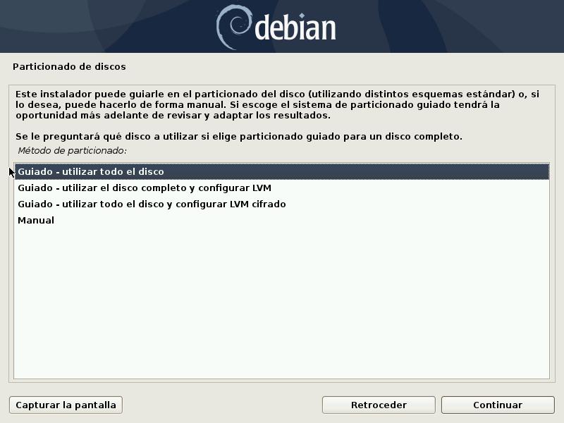 PARTICIONES DISCO DEBIAN 10