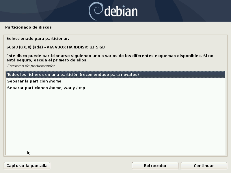 PARTICIONADO DE DISCO DEBIAN 10